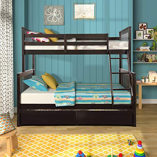 Twin-Over-Full Bunk Bed for Kids, Solid Wood bunks beds with Ladders and Two Storage Drawers
