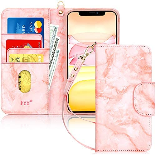 "FYY Case for iPhone 11 6.1"", [Kickstand Feature] Luxury PU Leather Wallet Case Flip Folio Cover with [Card Slots] and [Note Pockets] for Apple iPhone 11 6.1 inch Pink"