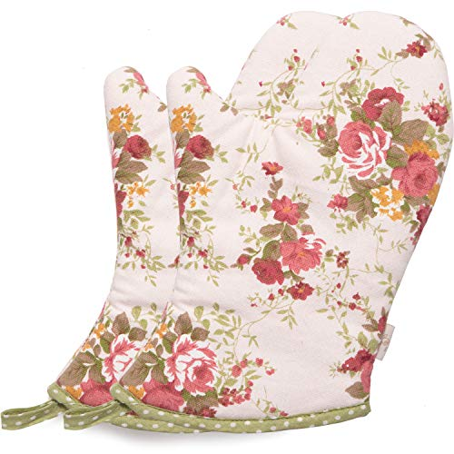 NEOVIVA Heat Resistant Oven Mitts for Everyday Fun Kitchen, Cute Pink Oven Mitt Set of 2 for Women, Floral Quartz Pink