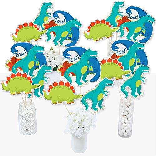 Roar Dinosaur - Dino Mite T-Rex Baby Shower or Birthday Party Centerpiece Sticks - Table Toppers - Set of 15]()