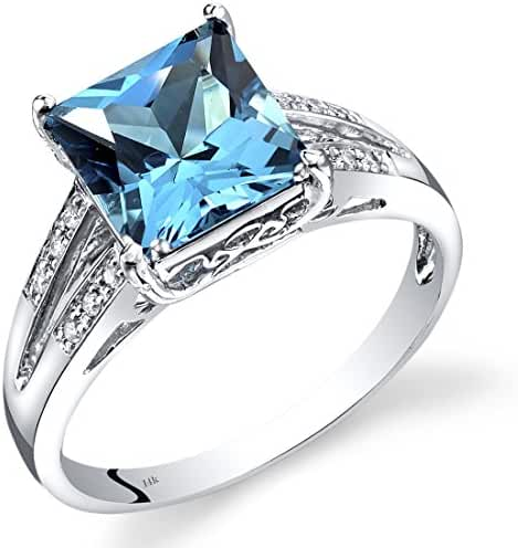 14K White Gold Swiss Blue Topaz Diamond Ring Princess Cut 3 Carats Total