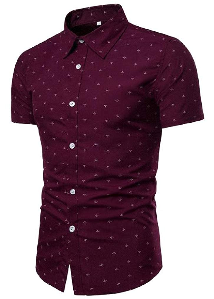 Lutratocro Mens Print Casual Button Down Plain Summer Short Sleeve Shirts