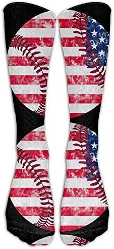 SDFGSE USA American Flag Baseball Vintage Men's Women's Comfort Casual Tube Socks Long Socks Crew Socks Unisex 60cm