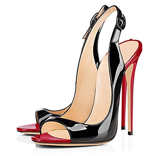 Red 12cm Shoes Heel Toe Black High Leather Eldof Open Patent Womens Slingback Sandals Wedding Classic Pumps Dress aSpRw