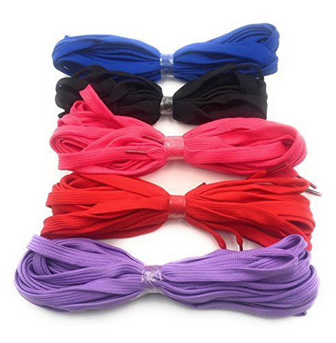 SHOE LACES 5 Pair Pack: Black, Fuchsia, Blue, Purple, Red Extra Flat, Wide, Rock, extra Long 130 inch String, Punk, High Top, Knee, Skate Canvas Sneaker Shoes Laces