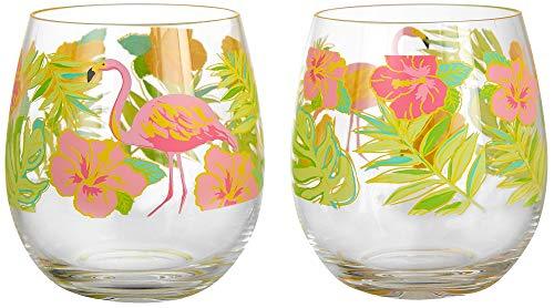 (Tropix 2-pc. Flamingle Flamingo Stemless Goblet Set One Size Pink/green )