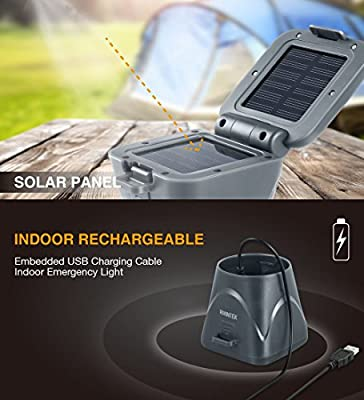 AVANTEK Solar LED Camping Lantern with Detachable Solar Panel, USB Rechargeable, 2 Light Modes, Portable Water Resistant Outdoor Survival Lamp for Hiking Fishing Emergency