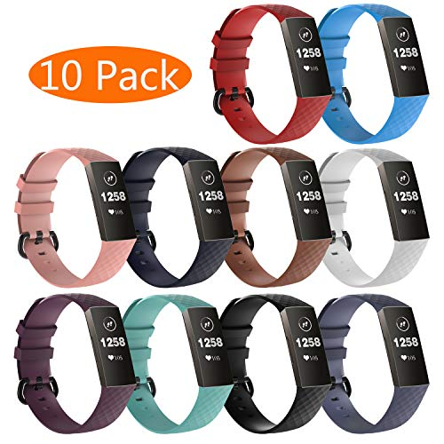 KingAcc Compatible Fitbit Charge 3 Bands, Soft Silicone Replacement Band for Fitbit Charge 3, Charge 3 SE, with Metal Buckle Wristband Strap Women Men (10-Pack, 10 Colors-B, Large)