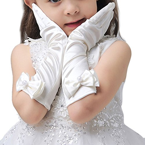 The Halloween Princess Bride Costumes (L-Peach Kids Satin Bowknot Formal Gloves Girls Princess Costume Gloves for Bride Party Halloween)