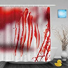 "Murder Blood On The Glass Decor Bathroom Shower Curtains Halloween Home Collection Shower Curtain Waterproof Mildewproof Not Fade Polyester Fabric Red 66""X72""Inch"