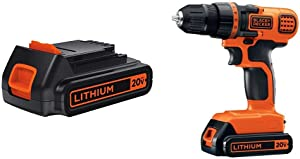 BLACK+DECKER LBXR20 20-Volt MAX Extended Run Time Lithium-Ion Cordless To with BLACK+DECKER LDX120C 20V MAX Lithium Ion Drill / Driver