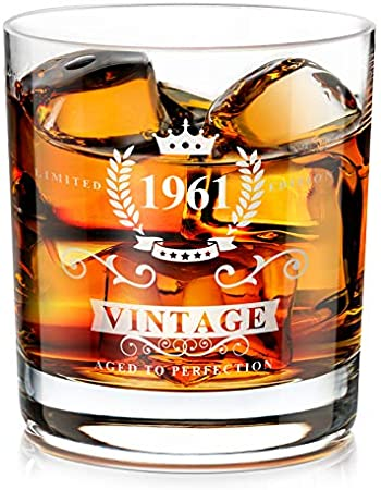 1961 60th Regalo para Hombres, Vaso de Whisky Tradicional Hecho a Mano a la Antigua, Regalo de Los Amantes del Whisky para Papá, Esposo, Amigos, Divertidos Regalos Vintage para el 60 Aniversario