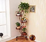 ZPMZ- European Iron Art Flower Stand Multi-layer with Movable Wheel Plant Racks Balcony Living Room More Pots Flower Stands ( Color : Red copper , Size : 5-layers )