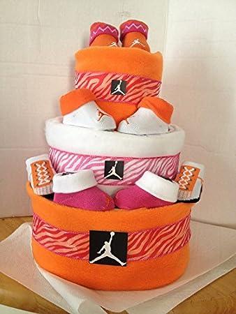 9c38ef93bd52 new nike air jordan baby diaper cake pink
