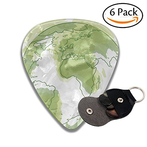 Colby Keats Guitar Picks Plectrums Earth Map Classic Electric Celluloid Acoustic For Bass Mandolin Ukulele 6 Pack 3 Sizes .46mm - Mother Earths Syrup