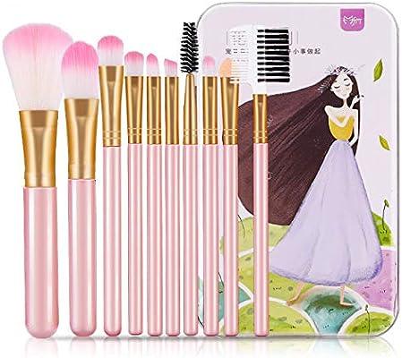 Juego de 10 brochas de maquillaje universales de fibra de hierro en caja para principiantes: Amazon.es: Belleza