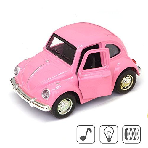 Cute Vintage toy Car for Kids, VW Beetle 1:38 Diecast Play Vehicles Model ,Classic Design Style , Lights&Sounds whit Multi-color, Great Gift (Pink) (Volkswagen Vintage Beetle)