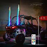 Xprite 4ft (1.2M) Remote Control RGB Flag Pole Whip Light with Dancing Light Effects for Offroad, Buggy, Dunes, Atv, Utv, Trucks