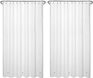 LiBa Shower Curtain Liners, PEVA 2 Pack White Bathroom 72