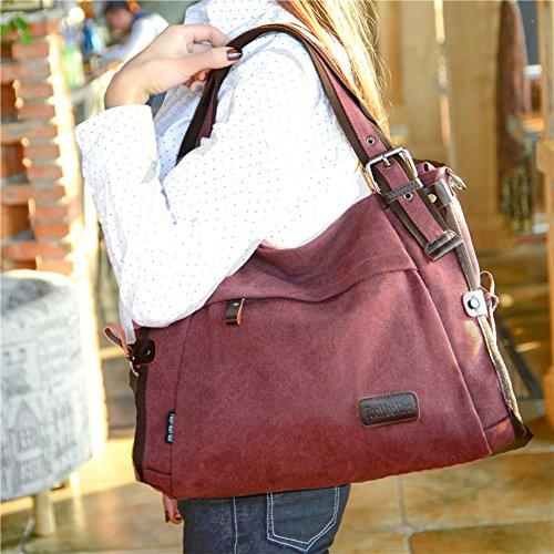 Messenger Grande Borse Donna Shoulder Donna marrone Tracolla Tela Borsa Spalla Di A Vintage Bag Nclon Marrone Nuovo Xxzw1q6