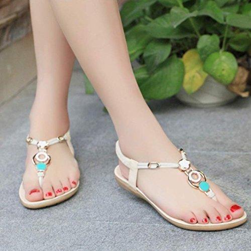 Amlaiworld Donna Sandali,Estate scarpe sandali Clip Toe Sandali spiaggia di perline