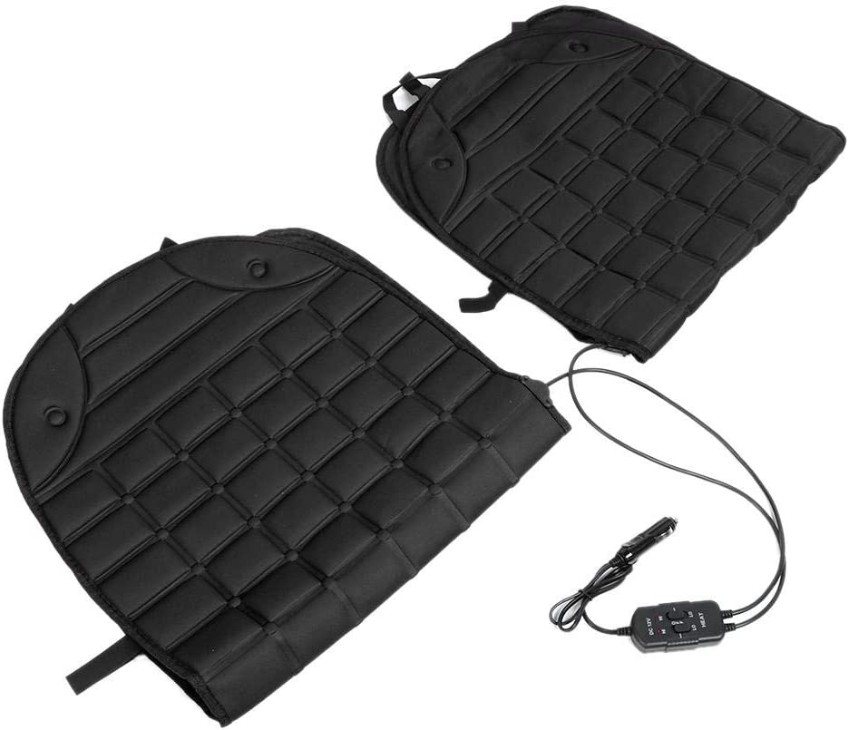 Car Seat Heating Pad, Fydun Thickening Car Heated Double Seat Cushion Chair Heating Pad 12V(Black)