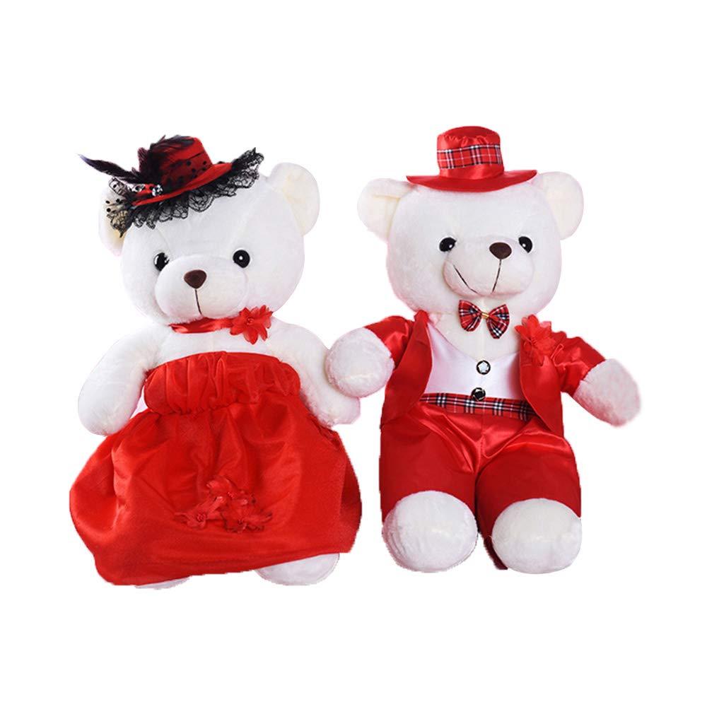 Plushtoy Juguete de Peluche Pareja Oso de Peluche, 2 Lindas muñecas Oso Abrazo, Cojines de Almohada, recién Casados recién Casados Pareja Regalos de Boda, Regalos de cumpleaños de Vacaciones
