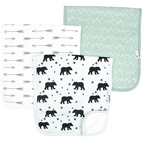 "Buy Discount Baby Burp Cloth Large 21""x10"" Size Premium Absorbent Triple Layer 3 Pack Gift Set For Boys ""Archer Set"" by Copper Pearl (Assorted Colors/Design)"