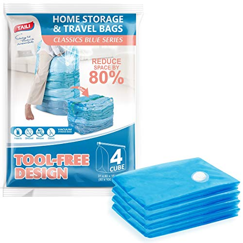 TAILI Vacuum Storage Space Saver Bags 4 Jumbo Cube Pack Vacuum Sealer Bags for Clothes Bedding Comforter Quilts Pillows-No Pump No Cap 80% Space Saving Design
