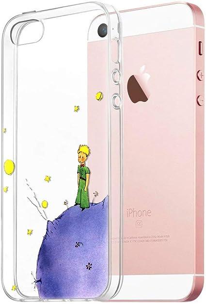 YOEDGE Coque iPhone SE/5s/5, Ultra Fine Etui en Silicone Transparente avec Motif Gel TPU Souple Mignon [Le Petit Prince] Bumper Case Housse Back Cover ...