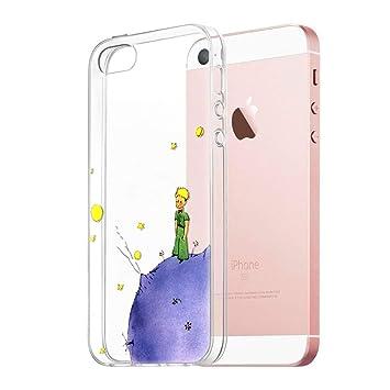 Funda iPhone SE, YOEDGE Ultra Slim Cárcasa Silicona Transparente con Dibujos Animados Diseño Patrón [El Principito] Resistente Bumper Case Cover para ...