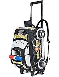 Children Toddler Kids 2-4-6th Grade Pupils School Bag Backpack with Wheeled Trolley Hand, 3D Police car (black)