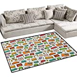 Doodle,Carpet,Various Home Interior Elements Armchair Table Mirror Design Elements Doodle Style,Non Slip Rugs,Multicolor Size:48''x60''