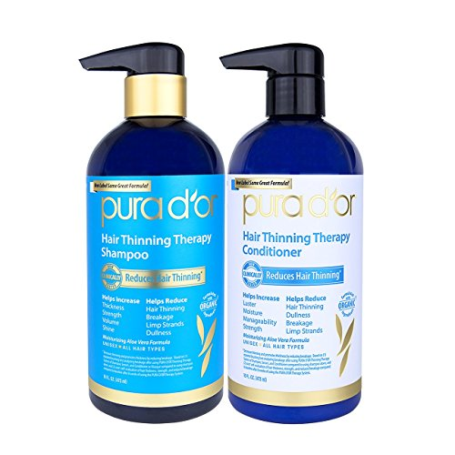 PURA D'OR Hair Thinning Therapy Shampoo & Conditioner 2-Piece System for Prevention, Infused with Premium Organic Argan Oil, Biotin & Natural Ingredients For All Hair Types, Men & Women