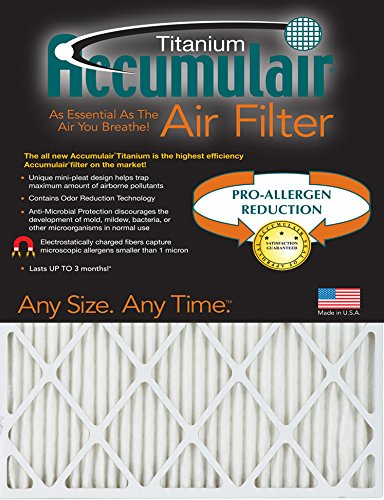 Accumulair Titanium 15x30x1 (14.5x29.5) High Efficiency Allergen Reduction Air Filter/Furnace Filter by Accumulair