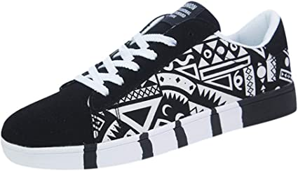 Bluestercool Homme Sneakers Fashion Casual Chaussures de Toile Multicolore Lace Up Shoes Chaussures de Sport Baskets Mode Chaussures Graffiti