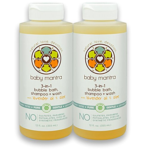 Baby Mantra 3-in-1 Natural Bubble Bath, Shampoo and Body Wash - EWG Verified Bath Bubbles for Infants, Toddlers, and Kids with Sensitive Skin, 12 Fluid Ounces (Pack of 2)