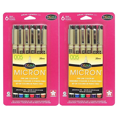 Sakura 30064 6-Piece Pigma Micron Assorted Colors 005 Ink Pen Set (2-PACK)