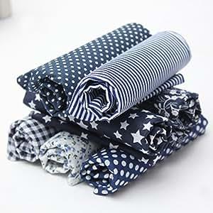 KING DO WAY Juego de Tela de Algodón, Material para Coser Manualidades DIY Costura Patchwork Diseños Variados en Azul Marino 7 Piezas 50 x 50 cm