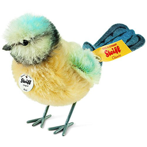 Steiff Piccy Tit Plush, Yellow/Blue/White