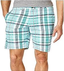 Club Room Mens Andre Plaid Casual Walking Shorts, 30, Pretty Pine
