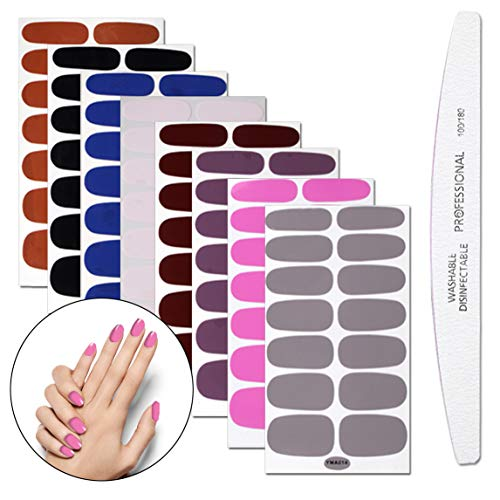 WOKOTO 8 Sheets Nail Polish Stickers With 1Pcs Nail File Pure Color Classical Adhesive Full Wraps Nail Decals Manicure Sticker Strips Set For Women ()