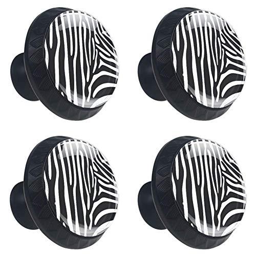 Idealiy Animal Zebra Print Cabinet Dresser Drawer Knobs Glass Pull Handle for Cabinet Door Wardrobe - Drawer Zebra Knobs