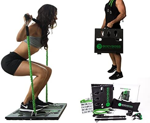 BodyBoss 2.0 - Full Portable Home Gym Workout Package + Resistance Bands - Collapsible Resistance Bar, Handles - Full Body Workouts for Home, Travel or Outside 1