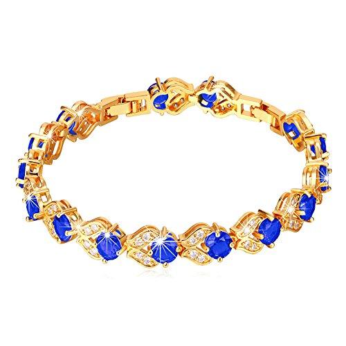 U7 Women Fashion Crystal Birthstone Gemstone Sapphire Jewelry 18K Gold Plated Link Blue Cubic Zirconia Tennis Bracelet,6-8 Inch