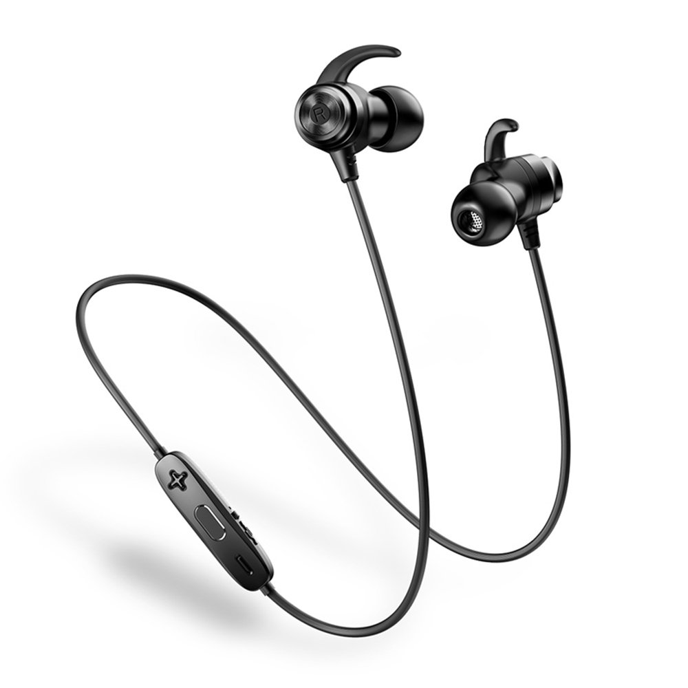 HEMRLY Sports Bluetooth Headphones with Microphone, Magnetic Wireless Earbuds Lightweight Earphone, Noise Cancelling HiFi Inear Sweatproof Headphones for Workout, Running, Jogging - Black