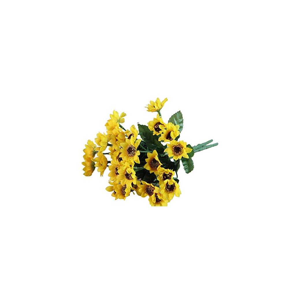 Latosiv – Fake Sunflowers – Artifical 14 Heads Fake Sunflower Silk Cloth Flower Bouquet Home Floral Wedding Decor Yellow – Flower Flower Wreath Head Hair Flower With Artificial Festival Crown Crown F