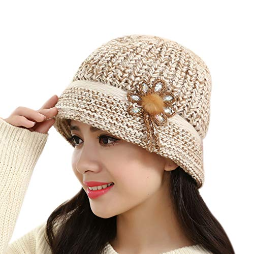 - Challyhope Vintage Boho Cloche Hat Warm Crochet Knitted Decorative Flowers Wool Beret for Women Lady (Beige 01)