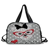 iPrint Travel handbag,Yorkie,Tilted Head Terrier I Love My Yorkie Red Nerd Glasses Love Heart Polka Dots,Black White Red ,Personalized