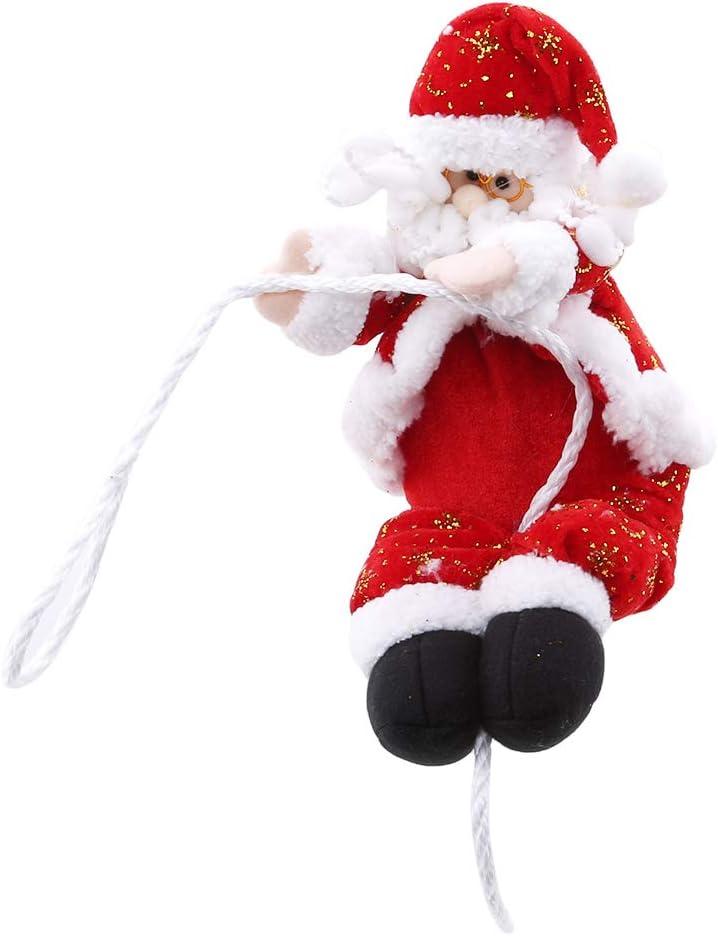 YESMAEay Santa Claus Cuerda de Escalada Navidad Papá Noel Escalada en Cuerda Interior Exterior Pared Ventana Colgante decoración, algodón, Rojo, 30 cm: Amazon.es: Hogar